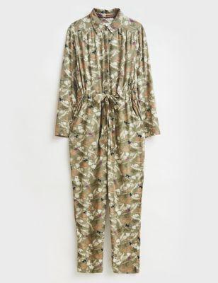 Leaf Print Long Sleeve Jumpsuit
