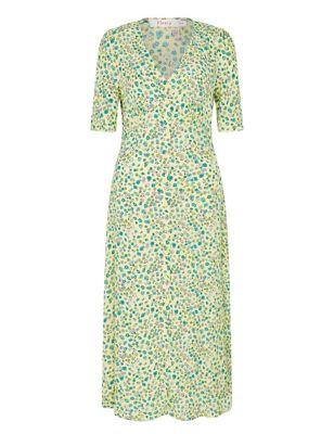 Floral V-Neck Button Through Midi Tea Dress