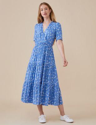 Spot Print Midi Tiered Wrap Dress