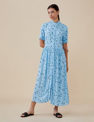 Floral Button Through Midi Shirt Dress
