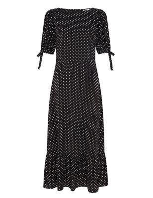 Polka Dot Tie Sleeve Midi Tea Dress