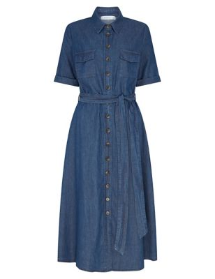 Pure Cotton Short Sleeve Midi Shirt Dress