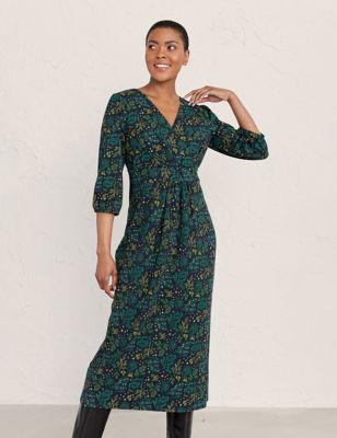 Floral Midi Wrap Dress with Cotton