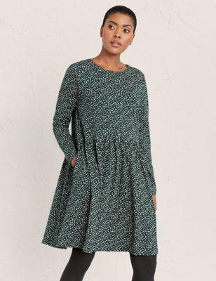 Pure Cotton Printed Knee Length Swing Dress