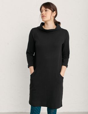 Cotton Jersey High Neck Shift Dress