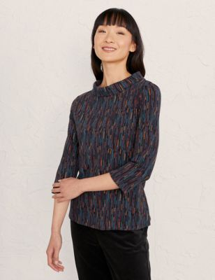 Cotton Printed Collared 3/4 Sleeve Top