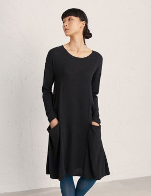 Cotton Round Neck Knee Length Smock Dress