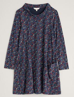 Pure Cotton Leaf Print Swing Dress