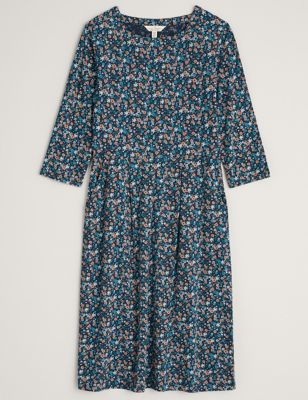 Cotton Floral Knee Length Waisted Dress