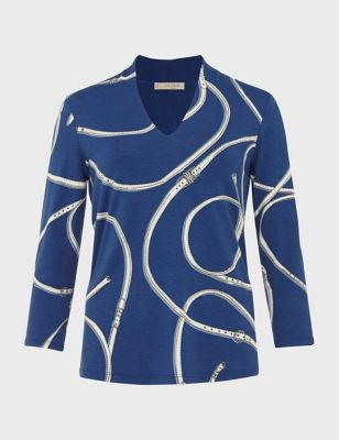 Abstract Print V-Neck 3/4 Sleeve Blouse