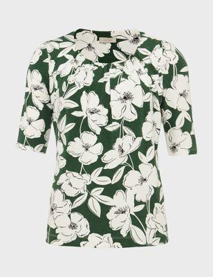 Floral Scoop Neck Short Sleeve Blouse