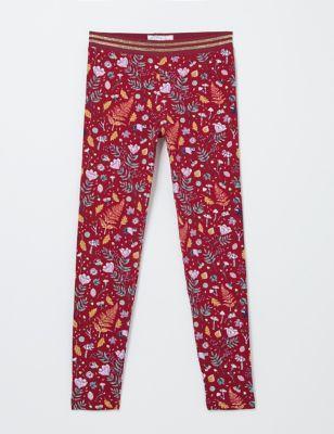 2pk Cotton Print Leggings (3-13 Yrs)