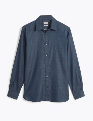 Regular Fit Pure Cotton Tile Print Shirt