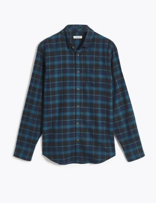 Cotton Check Shirt with Wool