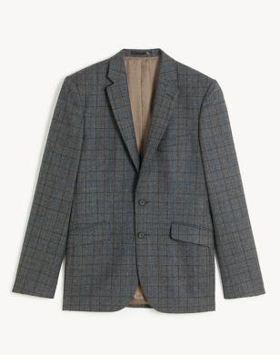 Slim Fit Italian Wool Check Jacket