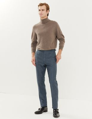 Slim Fit Italian Wool Puppytooth Trousers