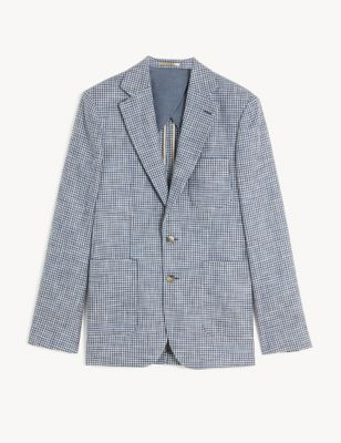 Tailored Fit Cotton Houndstooth Jacket