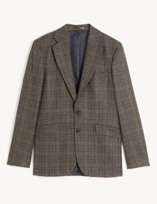 Tailored Fit Wool Houndstooth Jacket with Cashmere