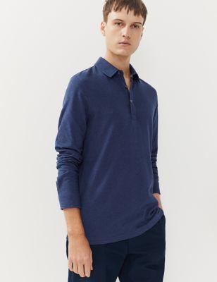 Pure Cotton Long Sleeve Polo Shirt