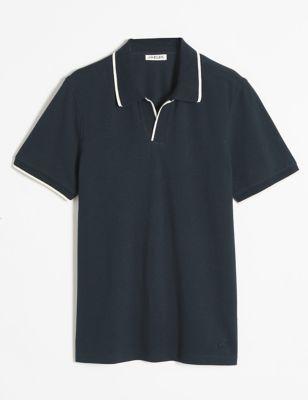 Pure Cotton Open Collar Pique Polo Shirt
