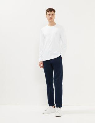 Pure Cotton Crew Neck Long Sleeve T-Shirt