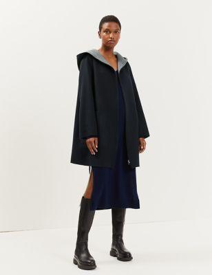 Pure Wool Reversible Hooded Coat