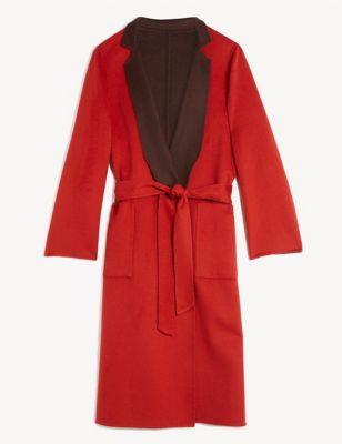Pure Wool Reversible Longline Wrap Coat