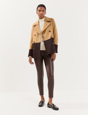 Pure Wool Colour Block Pea Coat