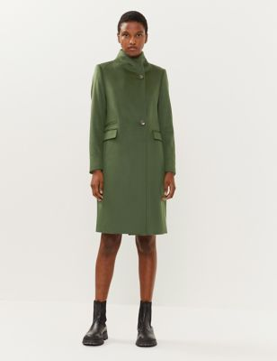 Pure Wool Funnel Neck Tailored Coat