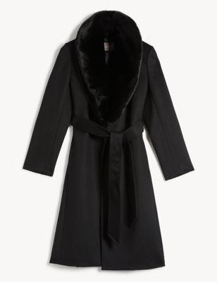 Pure Wool Belted Wrap Coat