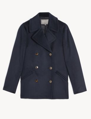 Pure Wool Double Breasted Short Pea Coat