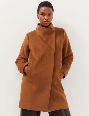 Pure Wool Funnel Neck Cocoon Coat