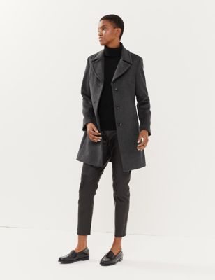 Pure Wool Tailored Coat