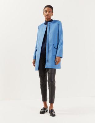 Pure Wool Collarless Tailored Coat