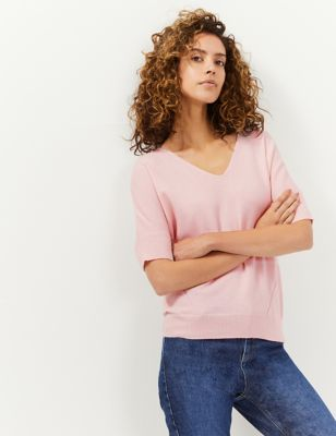 Wool Short Sleeve Knitted Top with Cashmere