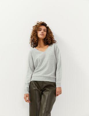 Wool V-Neck Jumper with Cashmere