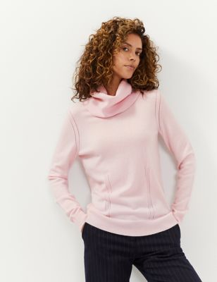 Wool Pointelle Cowl Neck Jumper with Cashmere