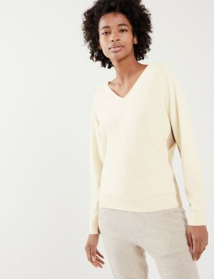 Wool Striped V-Neck Jumper with Cashmere