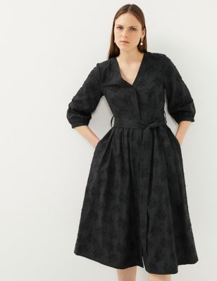 Cotton Jacquard V-Neck Midi Waisted Dress