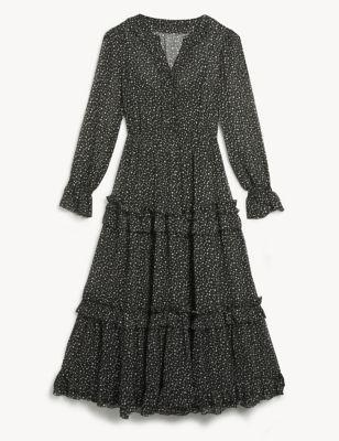 Star Print V-Neck Ruffle Midi Tiered Dress
