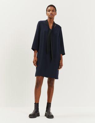 Crepe Tie Neck Knee Length Shift Dress