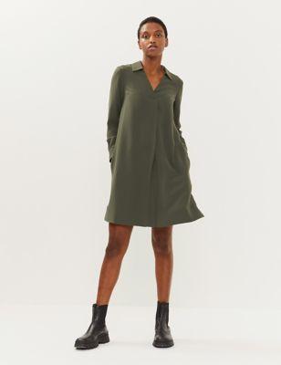V-Neck Knee Length Swing Dress