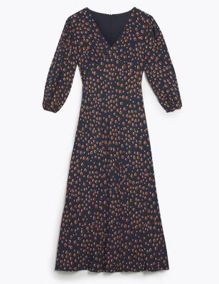 Silk Polka Dot V-Neck Midi Tea Dress