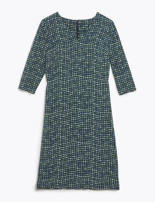 Pure Silk Gingham V-Neck Shift Dress