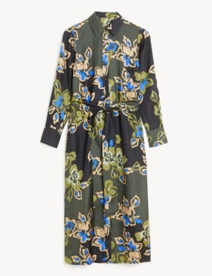 Pure Silk Floral Tie Front Midi Shirt Dress