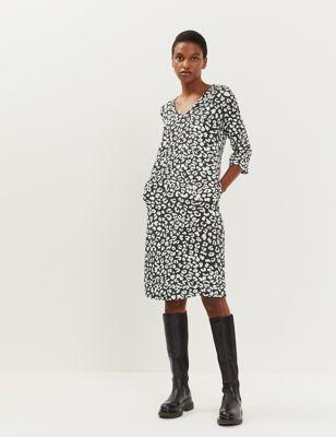 Pure Silk Animal Print V-Neck Shift Dress