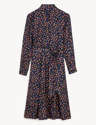 Pure Silk Polka Dot Midi Shirt Dress