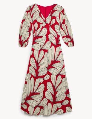Petite Fit Leaf Print Midi Tea Dress