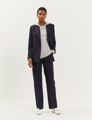 Wool Pinstripe Straight Leg Trousers