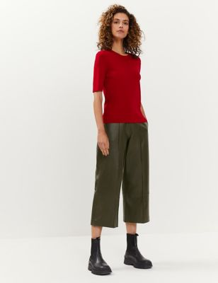Leather Wide Leg Culottes